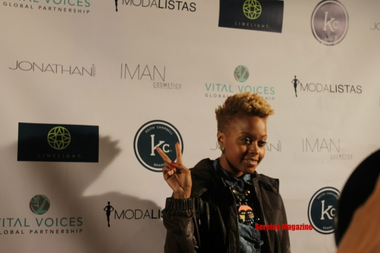 Chrisette Michele arriving at celebrity hair stylist Keith Campbell Decide To Be Beautiful book launch in New York City.