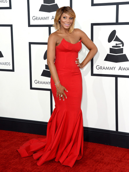 Tamar Braxton arrives at the 2014 Grammys Awards