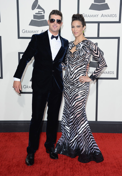 Robin Thicke and Paula Patton arrive at the 2014 Grammys Awards
