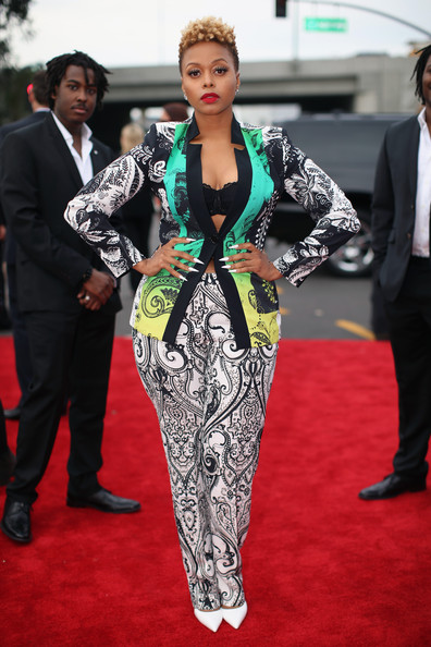 Chrisette Michele arrives at the 2014 Grammys Awards