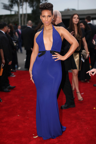 Alicia Keys arrives at the 2014 Grammys Awards
