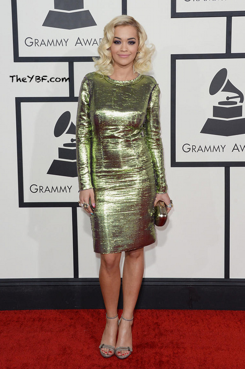 Rita Ora arrives at the 2014 Grammys Awards