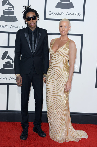 WizKhalifa and Amber Rose arrive at the 2014 Grammys Awards
