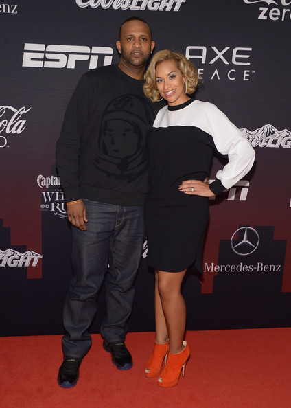 CC Sabathia and wife at the ESPNTheParty 2014 super Bowl Party